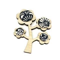Kimono Tree Brooch - Black and White Florals