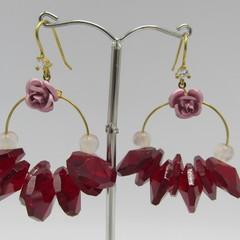 Vintage Rose Beaded Earrings