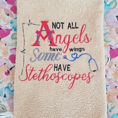 """Angels and Stethoscopes"" Hand Towel"