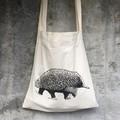 Screen printed Echidna calico shopping bag