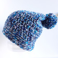 Beanie - size adult unisex - blue tones, texture beanie hat with a pompom