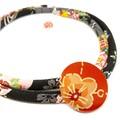 Kimono Cord Necklace Black Florals