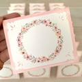 Note Card Set of 3 Floral Wreath Pink - Birthday Mothers Day Thank You Love