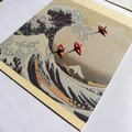 Joyful artwork - framed Hokusai print and cranes