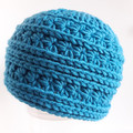 Messy bun beanie - size adult ladies - teal coloured, texture beanie hat