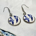 Blue Willow Swallow Earrings