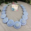 Baby Blue Aztec - Button Necklace - Button Earrings