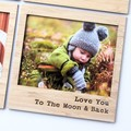 Love You To The Moon & Back Magnetic Photo Frame, Bamboo Fridge Magnet, Iso Gift