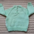 SIZE 0-6mths - Hand knitted jumper in mint and white: washable, warm