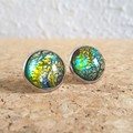 Round lampwork glass dome Rainbow galaxy gold glitter Cabochon stud earrings , 2