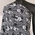 Black and white floral abstract knit fabric, stretch jersey. Fabric by the metre