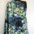 Printed Cotton Sateen fabric with blue cheetah and floral print
