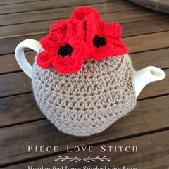 POPPY wool tea cosy, fits most 4-6 cup tea pots,  Free Shipping