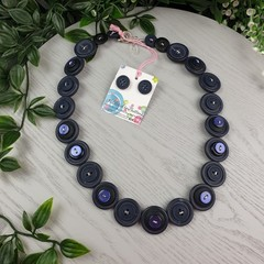 Neat Navy - Button Necklace - Button Earrings