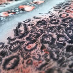 Pink leopard skin print chiffon, pink black & grey animal print.