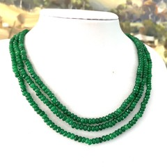 Genuine Indian EMERALD Gemstones, 3 Strands Necklace.