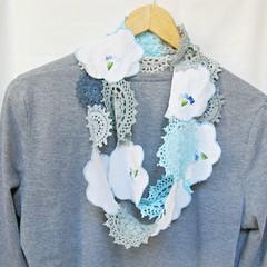 Romantic Boho Scarf Blue Shabby Chic Infinity Scarf Skinny Doily Accessories