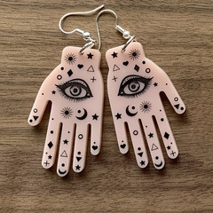 Palmistry Fortune Telling Hands Acrylic Earrings