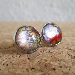 Round lampwork glass dome unique galaxy gold glitter Cabochon stud earrings , 4