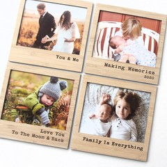 Set of 4 Magnetic Photo Frames | Bamboo | FREE POST