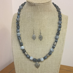 LAVA STONE AND GLASS BEAD NECKLACE  WITH LEAF FEATURE