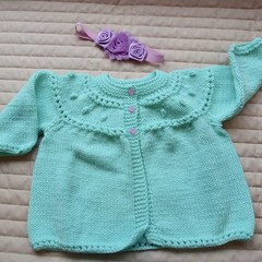SIZE 1-2 years - knitted cardigan in mint green & co-ordinated headband, girl