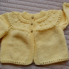 SIZE 0-6 mths - Hand knitted baby cardigan/jacket in Lemon by cuddlecorner
