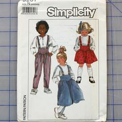Simplicity 8261 kids suspender, skirt and pants pattern. Size 4 - 6. Uncut