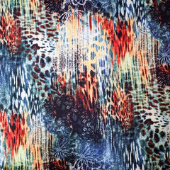 Abstract knit fabric, stretch jersey - Fabric by the metre