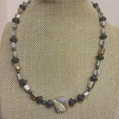 SHELL, PEARL AND BEAD NECKLACE