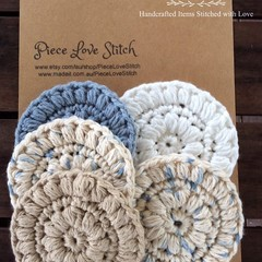 Face Scrubbies, Free Shipping, Pack 5,  100% cotton, 8 colours, 8.5cm
