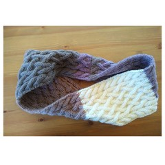 Hand Knitted Continuous Cable Scarf - Chocolate Berry & Cream