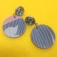 Dusty pink/white/grey/blue earrings