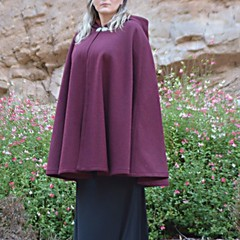 Short Burgundy Wool Blend Cloak