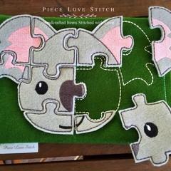 KOALA flat felt puzzle, (9 pieces), travel activity, quiet book activity,