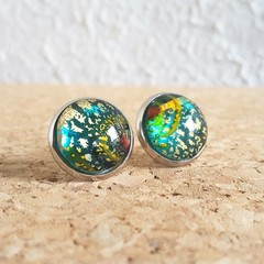 Round lampwork glass dome Rainbow galaxy gold glitter Cabochon stud earrings , 7