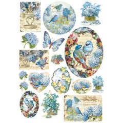 Rice Paper - Decoupage - 1 x A4 Size Sheet - Blue Birds