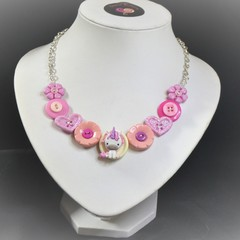 Girls pink necklace, Pink unicorn necklace
