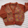 Size 3-9 mths - Hand knitted cardigan,  multi colour: unisex, washable, OOAK