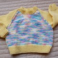 Size 6-12 months hand knitted jumper; yellow/multi colour, girl, washable,