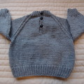 6-12mths - Hand knitted jump : boy, grey and multi colour, machine washable