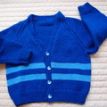 4-5 yrs: Hand knitted Cardigan, washable, boy