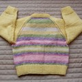 Size 6- 12 mths : cardigan, multi colour by CuddleCorner: OOAK, washable,