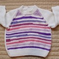 3-9mths - Hand knitted jump : girl, white/pink/purple, machine washable
