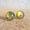 Round lampwork glass dome Rainbow galaxy gold glitter Cabochon stud earrings , 3