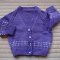 Size 6-12mths - Hand knitted cardigan in Purple & White: Girl, washable,