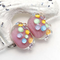 Pink with Rainbow Bumpies Lampwork Glass Bead Pair