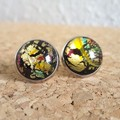 Round lampwork glass dome Rainbow galaxy gold glitter Cabochon stud earrings , 1