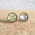 Round lampwork glass dome Rainbow galaxy gold glitter Cabochon stud earrings , 5