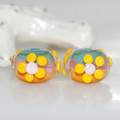 Sunny Flowers Lampwork Glass Bead Pair